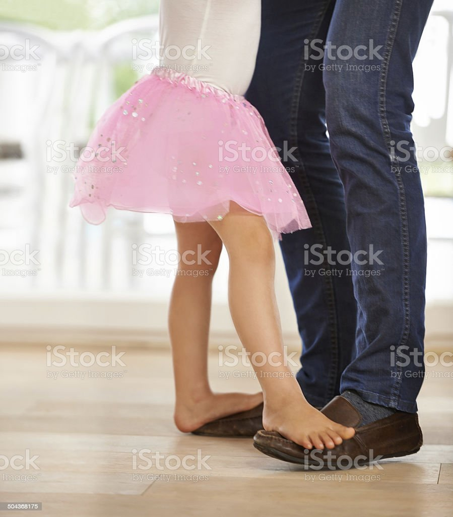 I love dancing with daddy stock photo