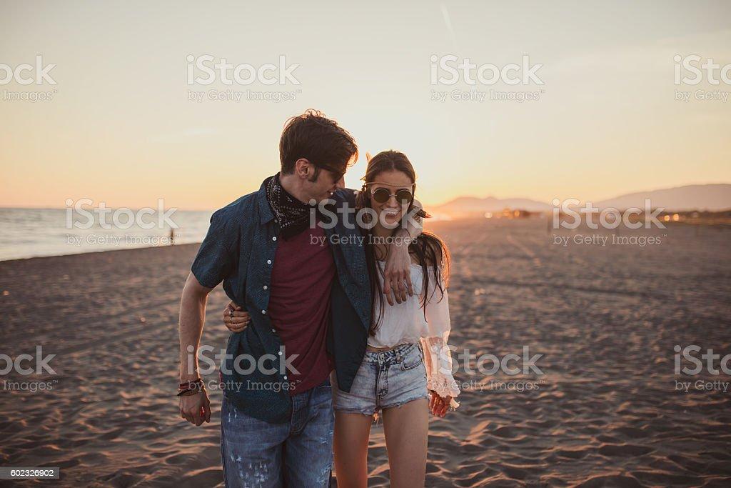 love drunk couple on the beach stock photo