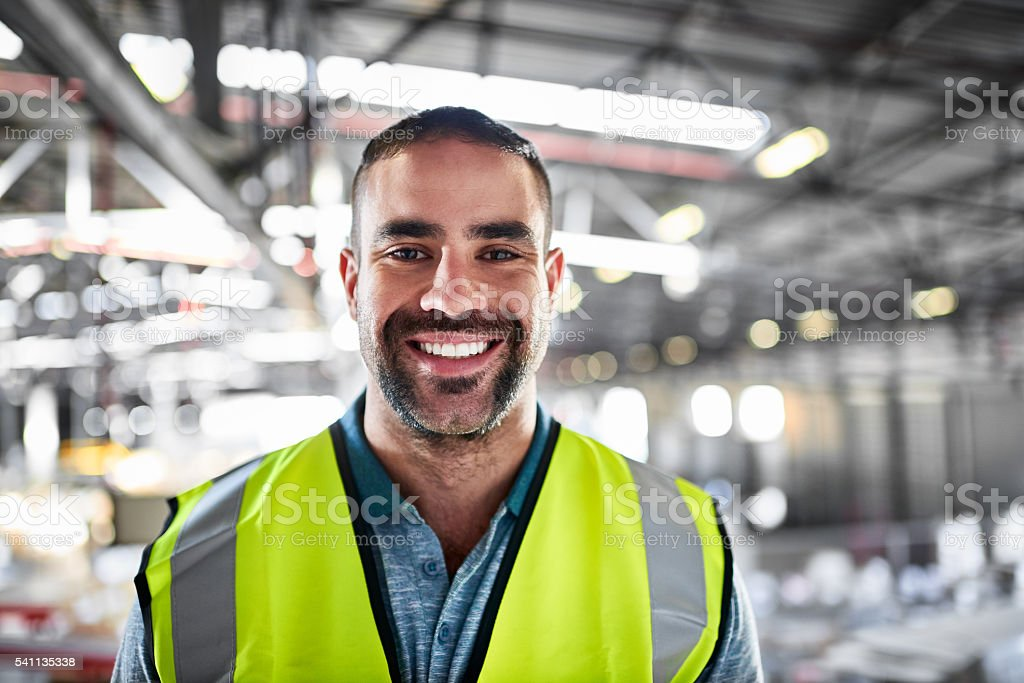 I love every minute in the warehouse! stock photo