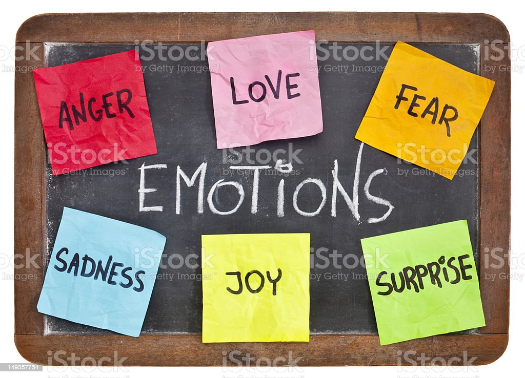 love, fear, joy, anger, surprise and sadness royalty-free stock photo
