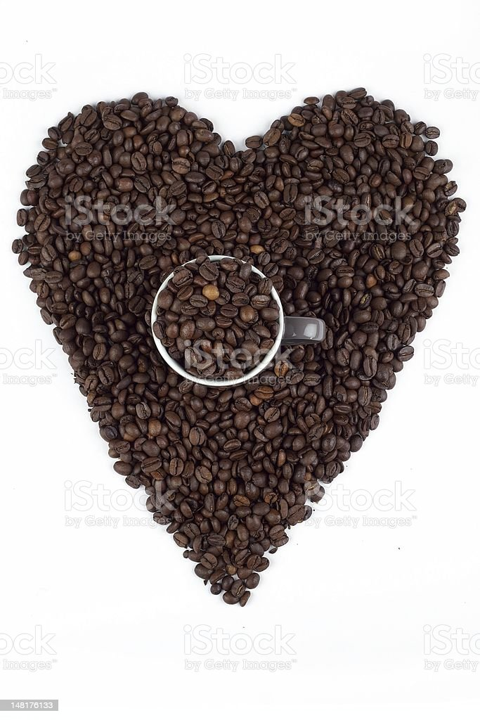 Love for coffee beans stock photo