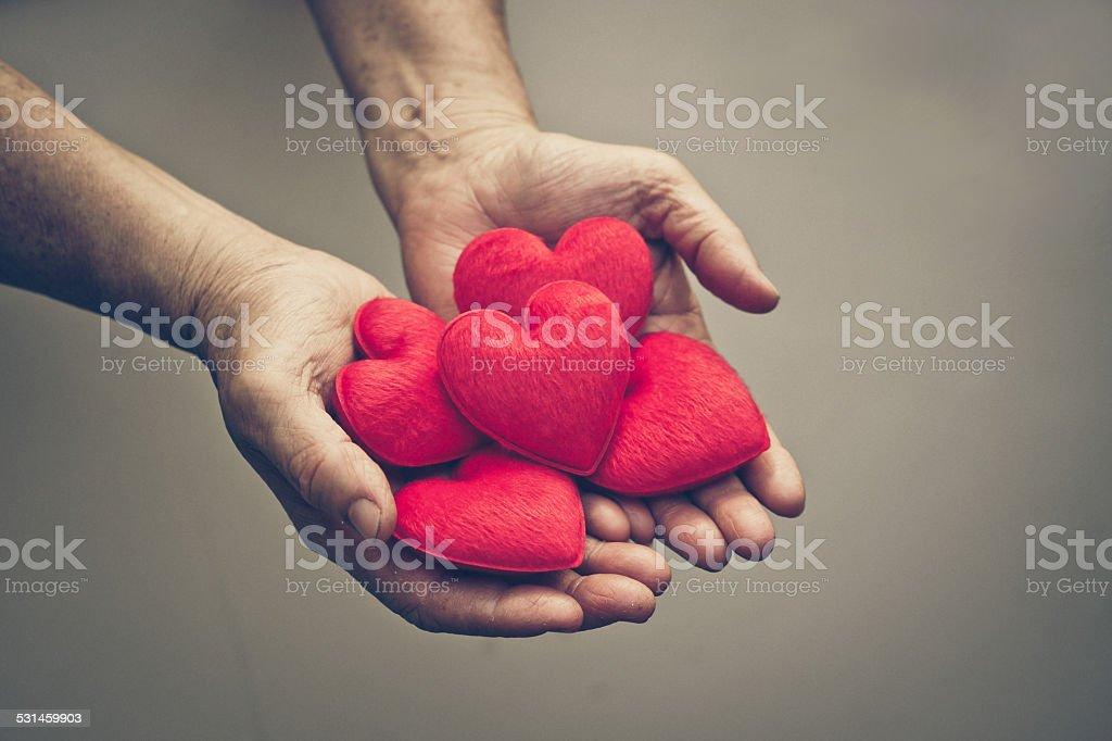 Love for elderly people stock photo