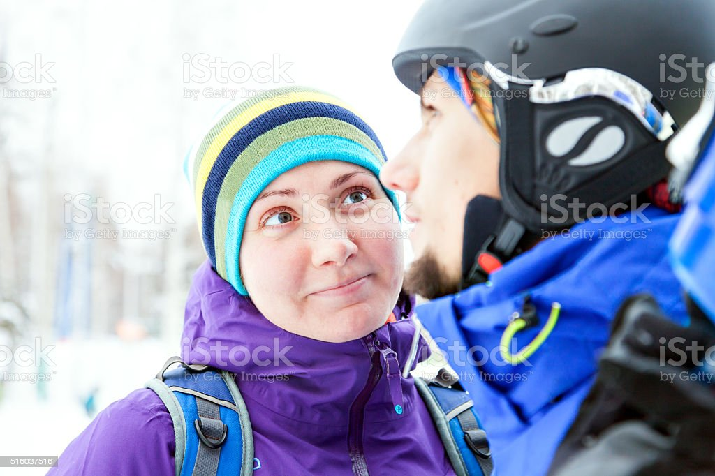 Love for snowboard connecting this couple stock photo