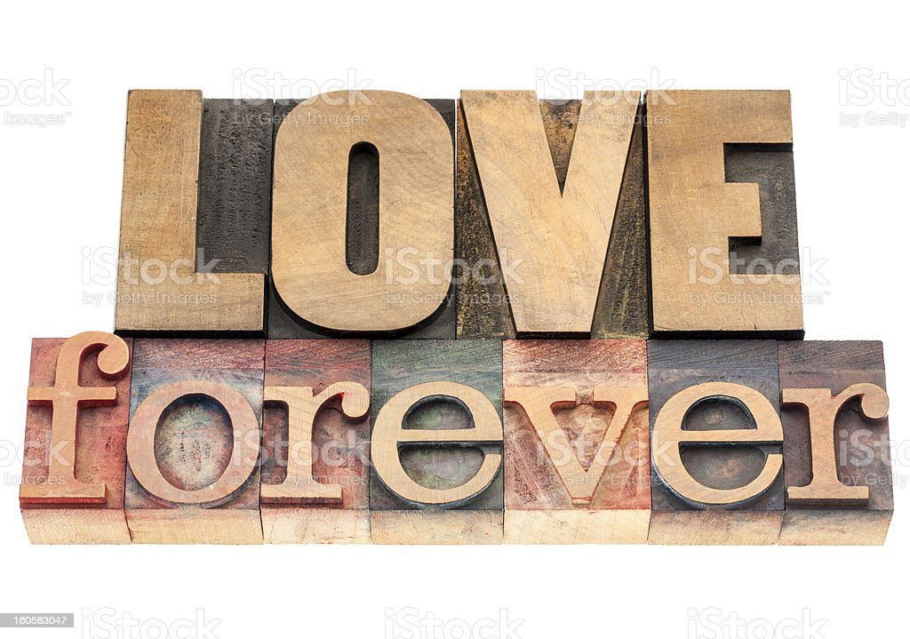 love forever in wood type royalty-free stock photo