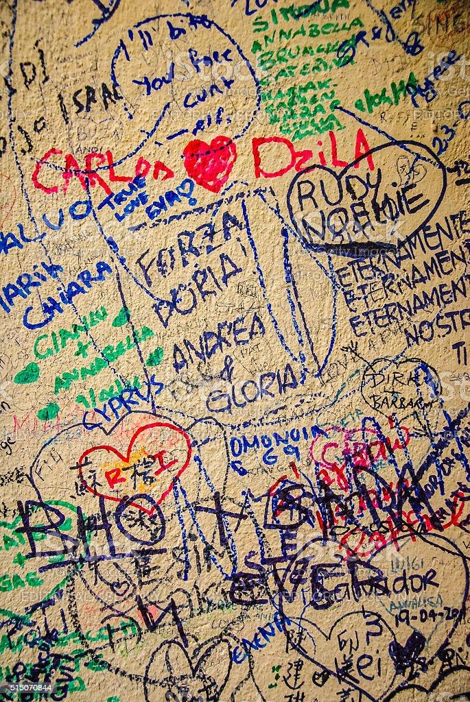 Love Graffiti in Verona, Italy stock photo