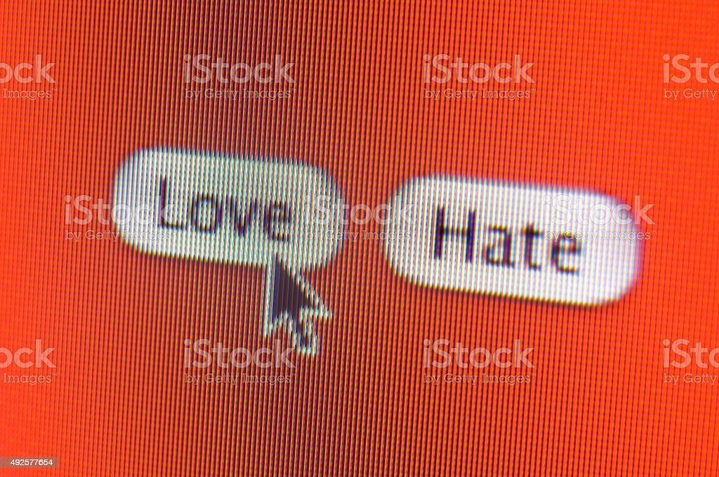 Love Hate web buttons close-up on computer screen stock photo