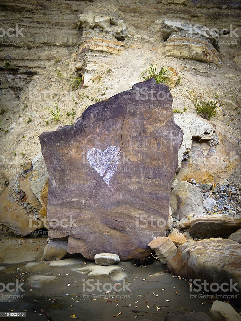 love heart chalked on a broken rock royalty-free stock photo