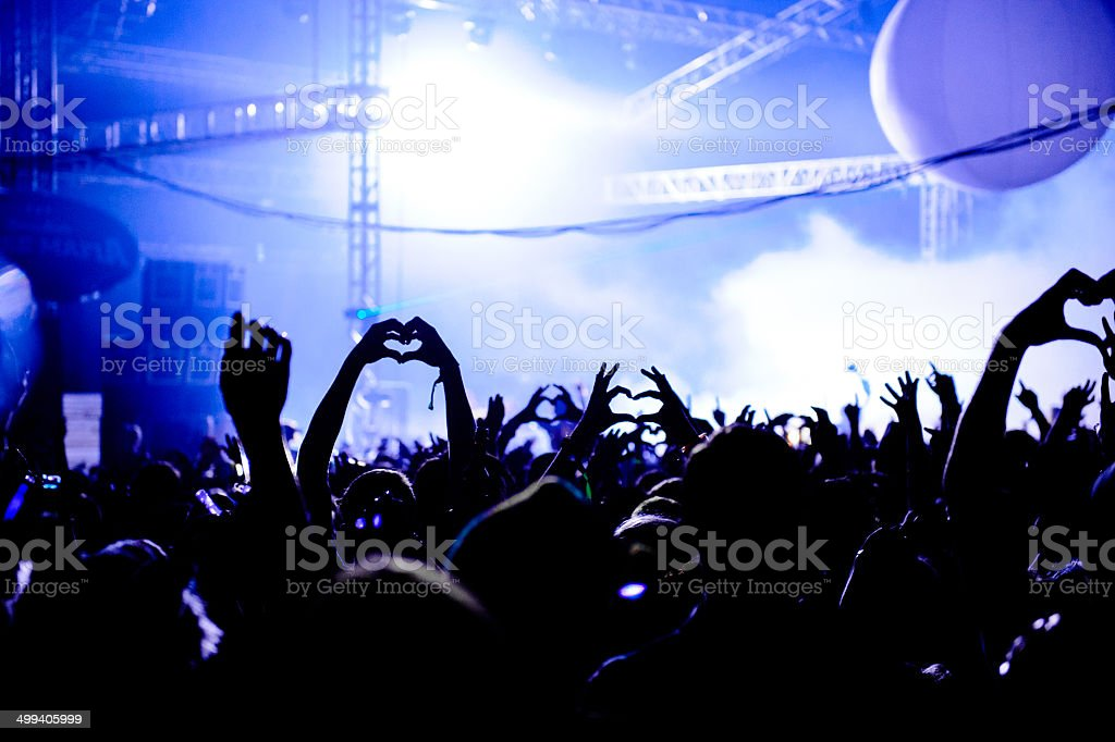 Love Heart Hands Up In Air At Concert stock photo