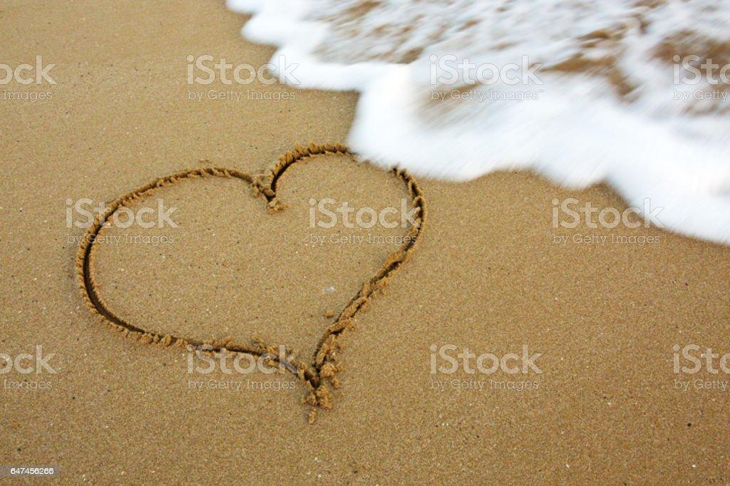 Love Heart on Sand stock photo