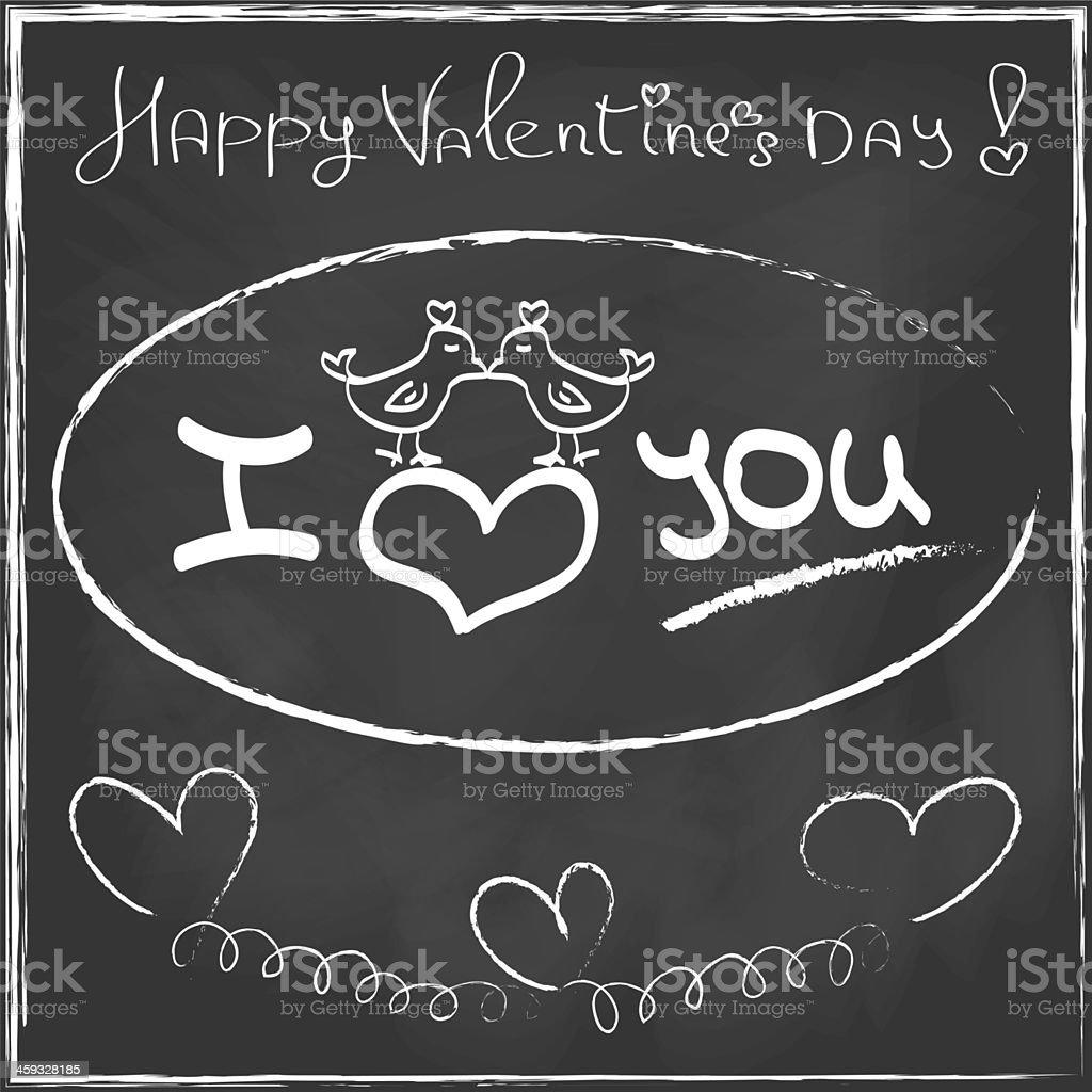 Love Heart Valentines day Greeting card Hand drawn on blackboard stock photo