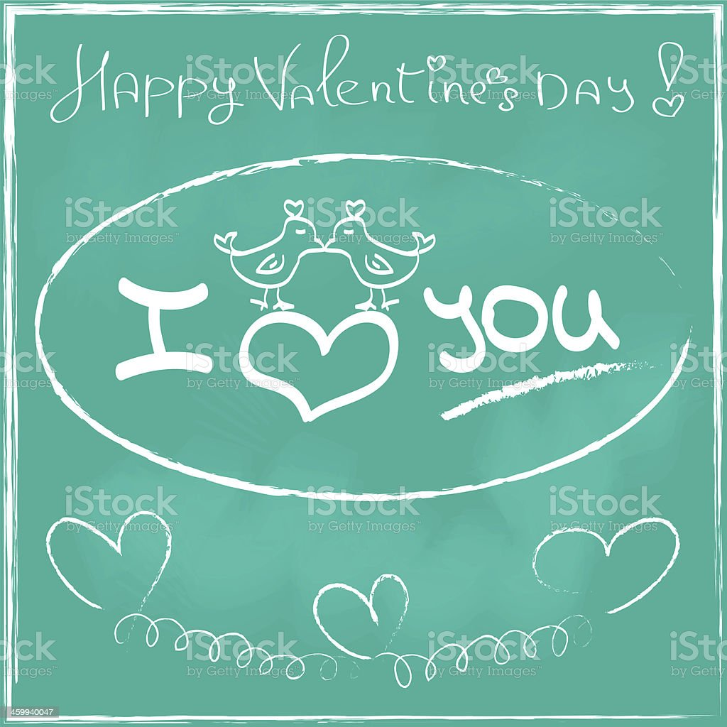 Love Heart Valentines day Greeting card Hand drawn stock photo