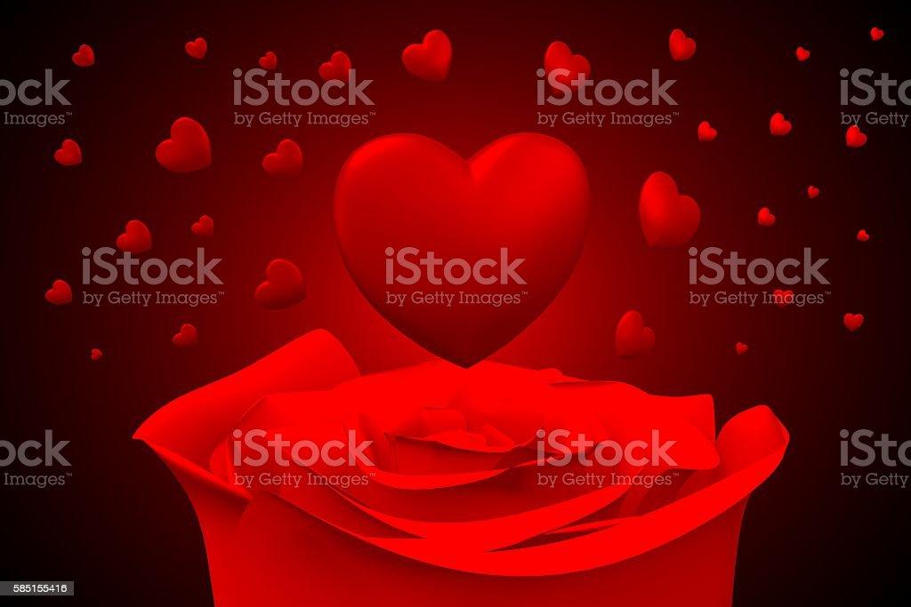 3D love, hearts card stock photo