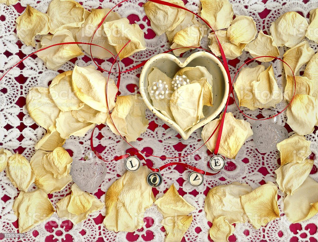 Love, Hearts, Rose Petals and Lace royalty-free stock photo