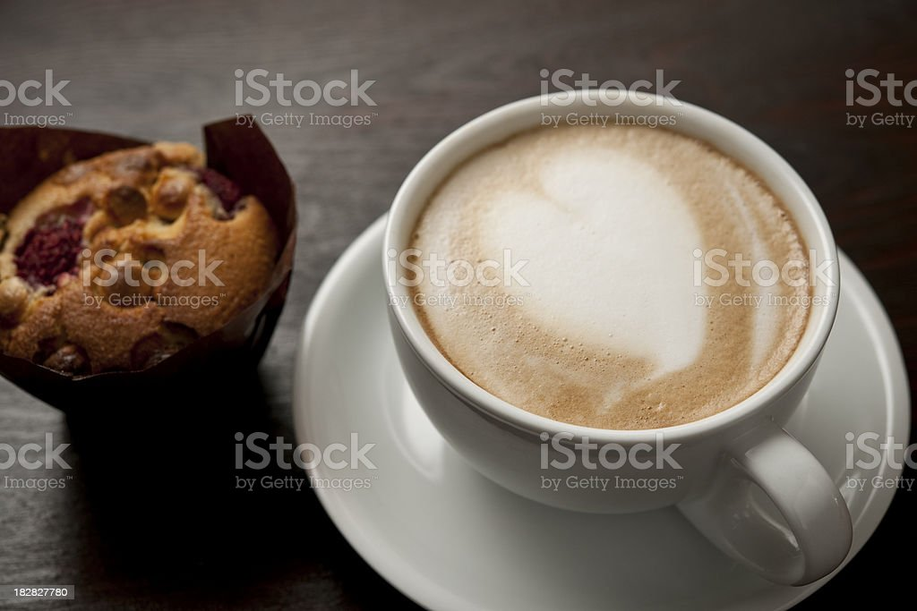 Love heat Latte with Raspberry Muffin royalty-free stock photo