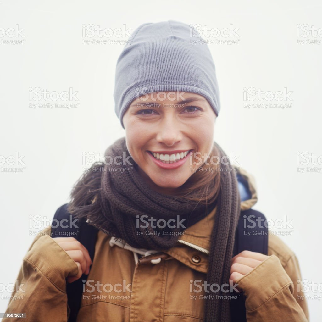 I love hiking! stock photo