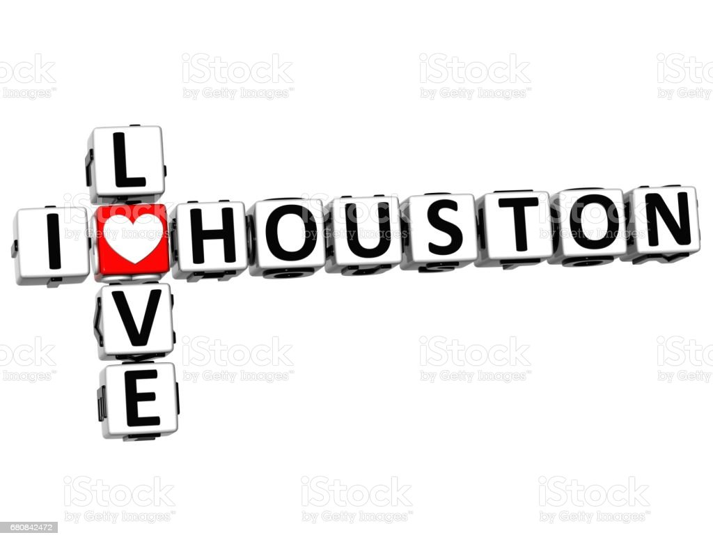 3D I Love Houston Crossword vector art illustration
