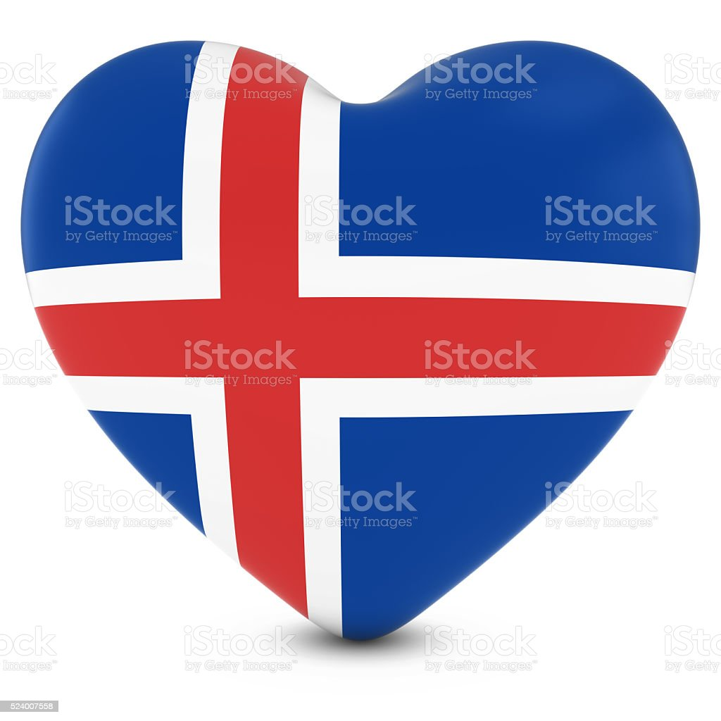 Love Iceland Concept Image - Heart textured with Icelandic Flag stock photo