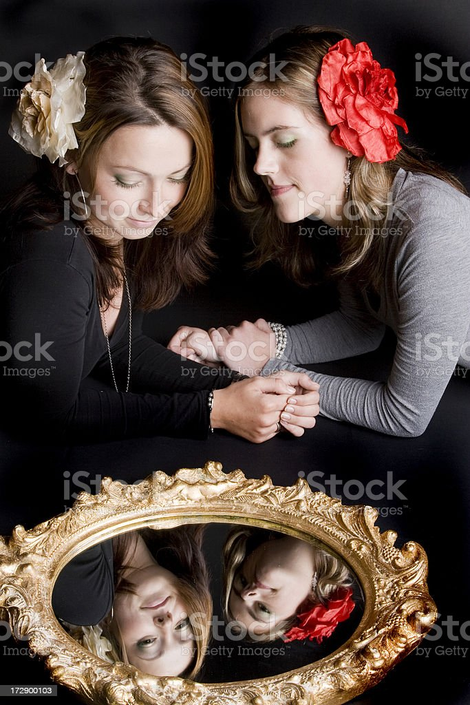 Love in a mirror royalty-free stock photo
