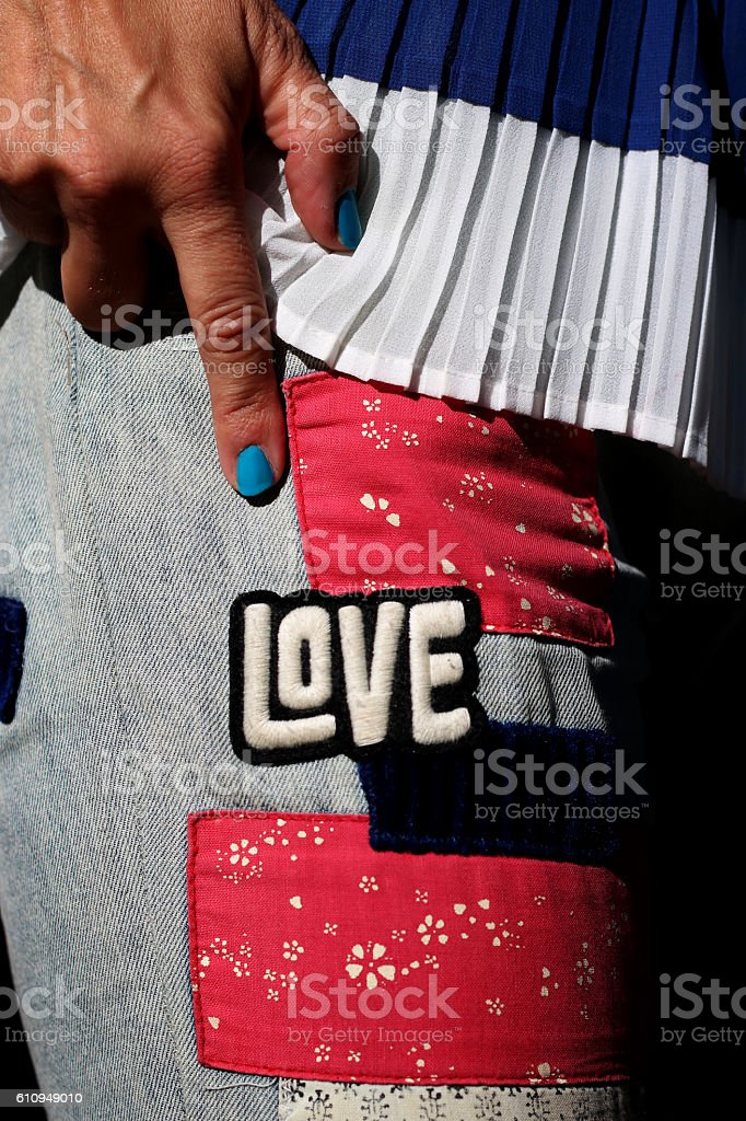 Love in jeans stock photo