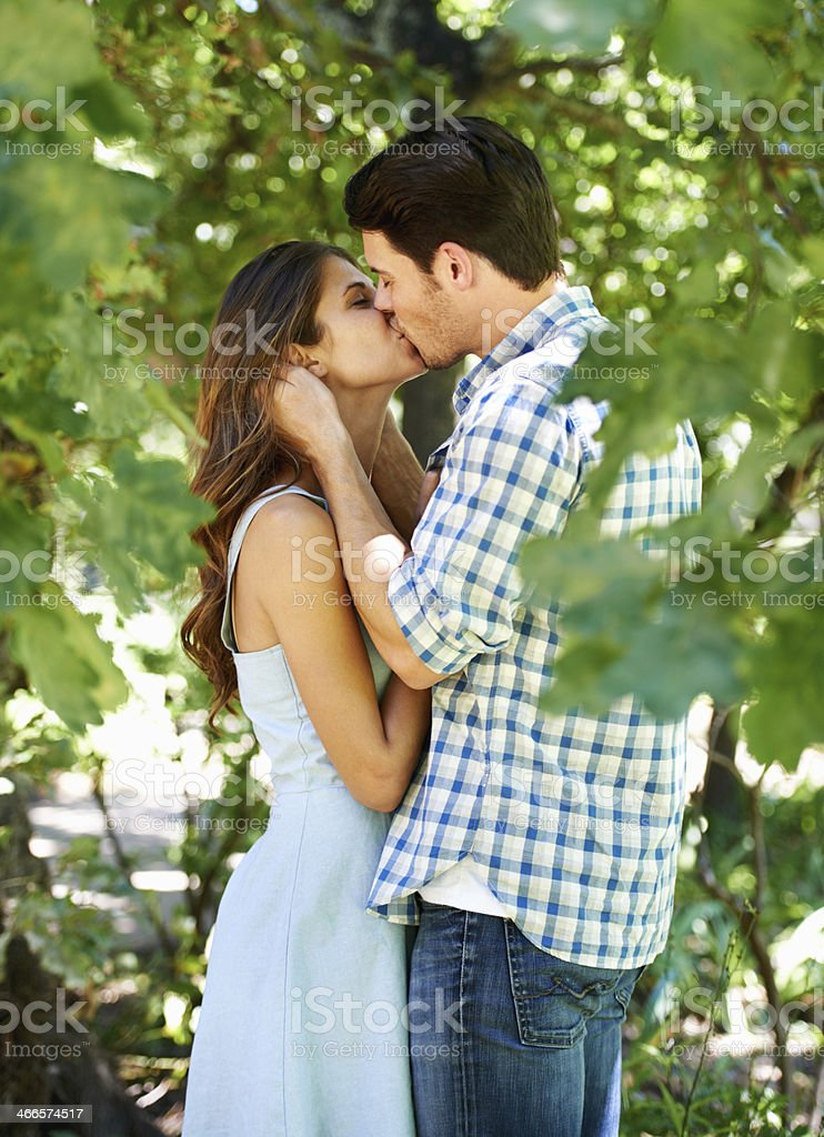 Love in the park stock photo