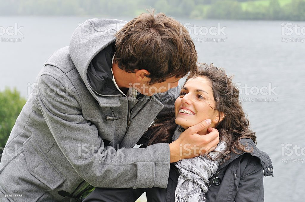 Love in the rain royalty-free stock photo