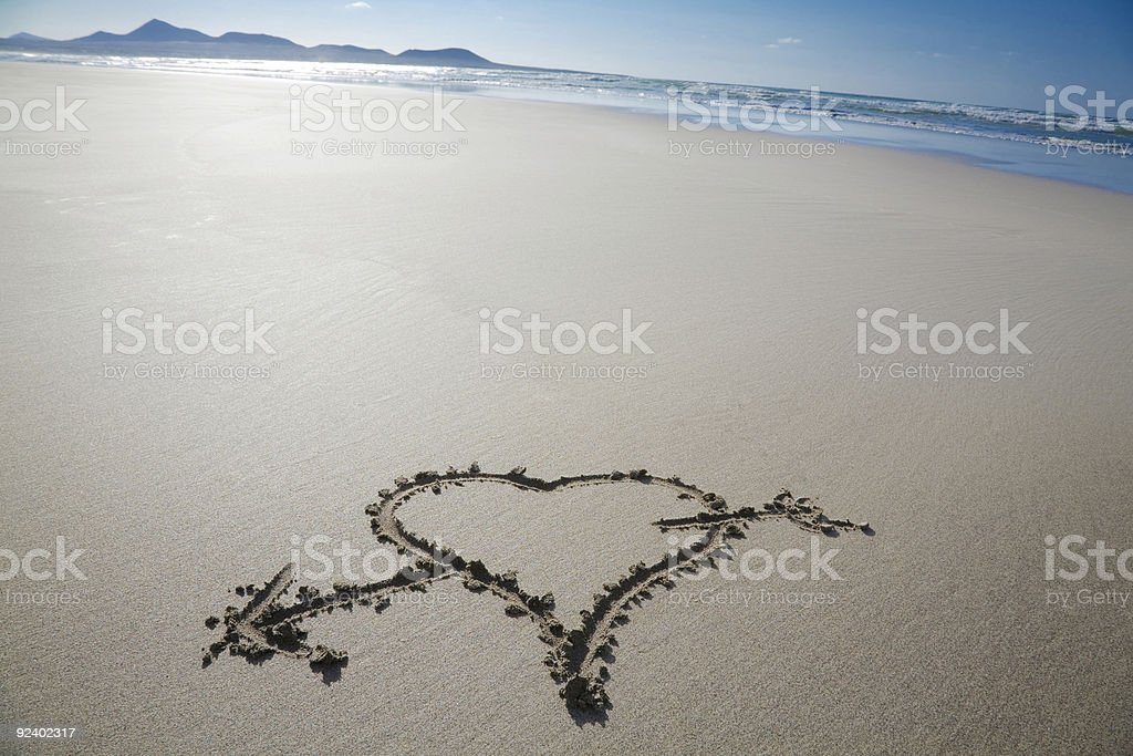 Love in the sand royalty-free stock photo