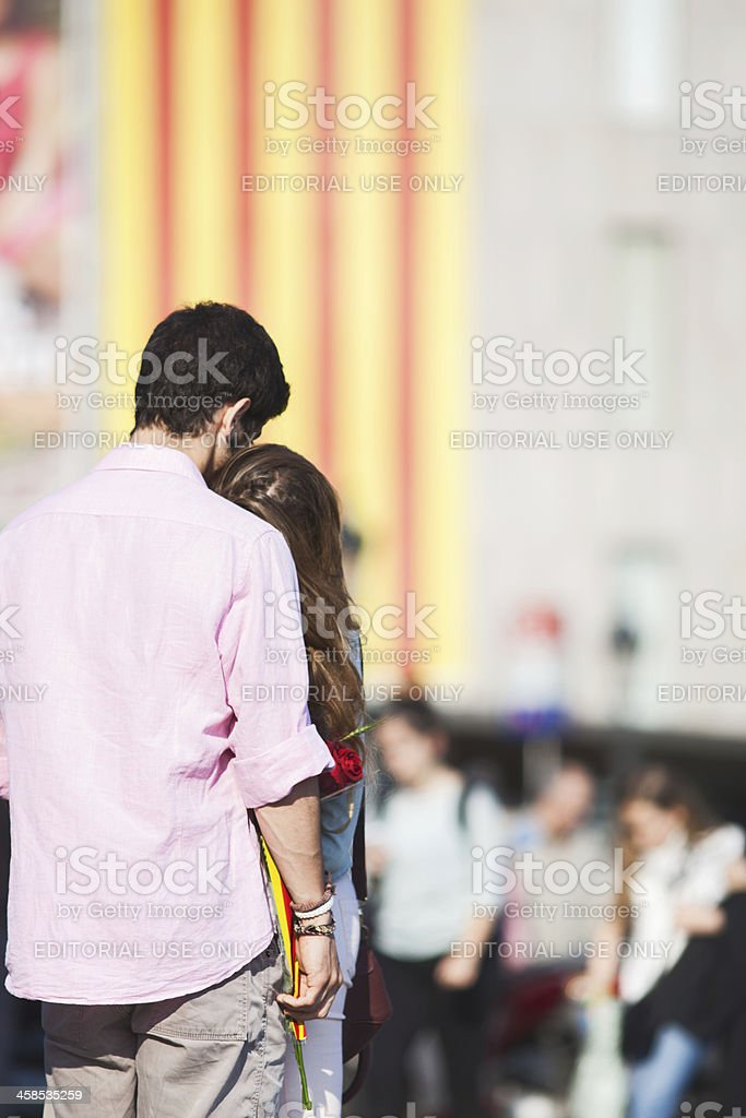Love in the streets of Barcelona. stock photo