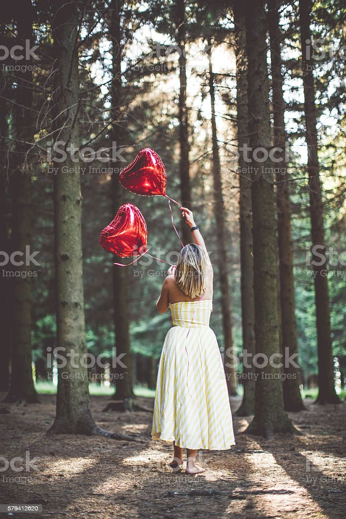 Love in the woods stock photo