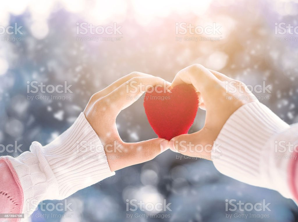 love in winter stock photo