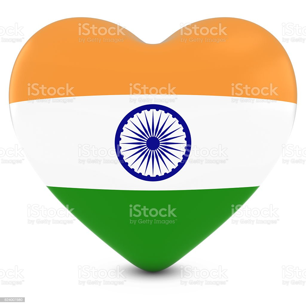 Love India Concept Image - Heart textured with Indian Flag stock photo