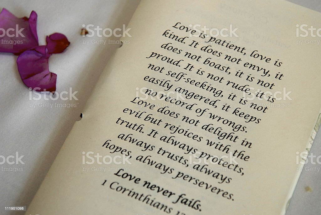 Love is Patient Bible Poem at Wedding Ceremony royalty-free stock photo