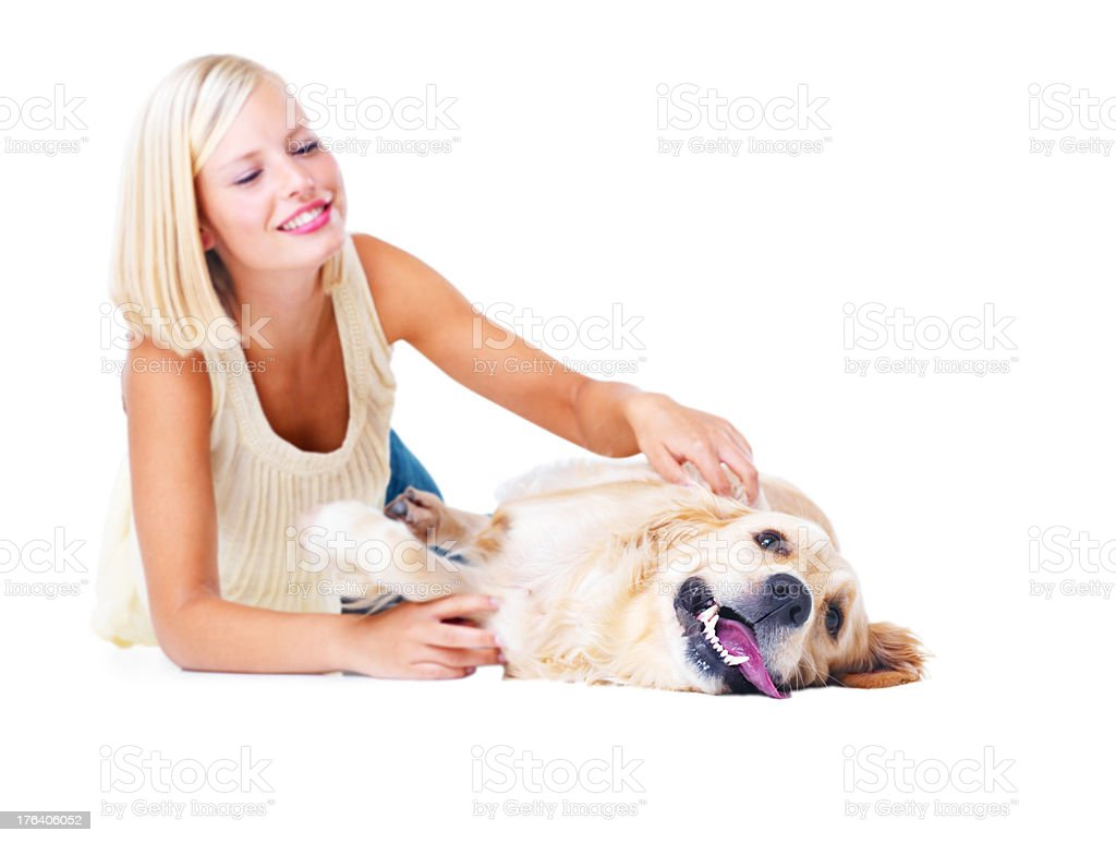 I love it when she pets me royalty-free stock photo