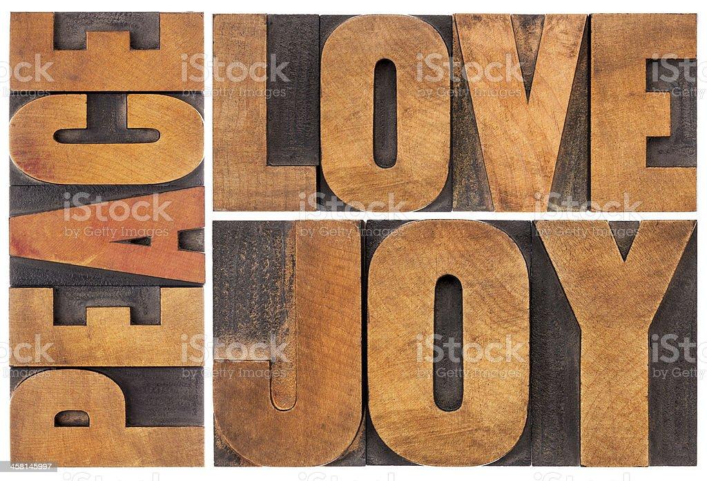 love, joy and peace stock photo