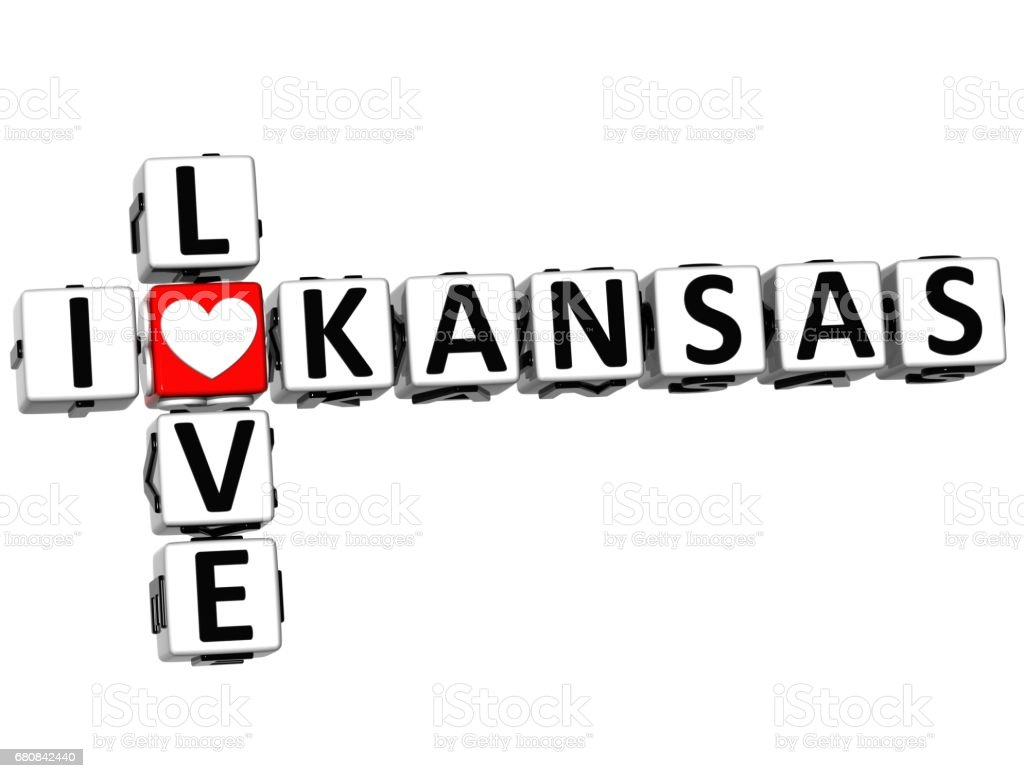 3D I Love Kansas Crossword vector art illustration