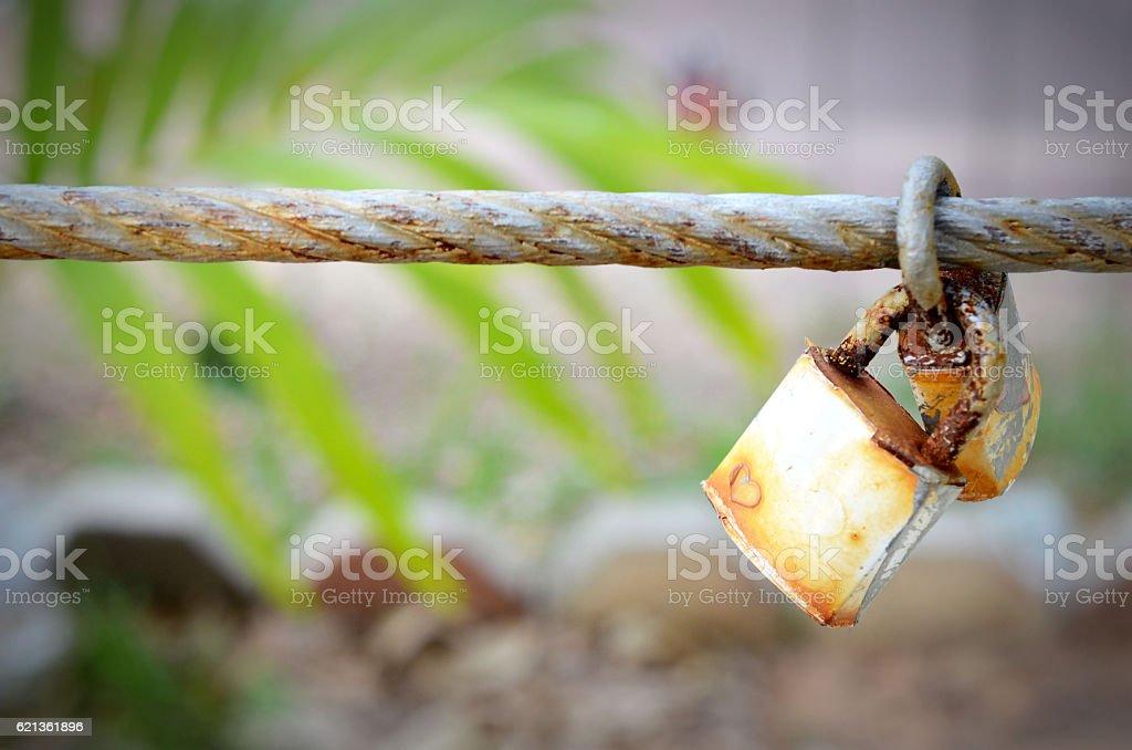 Love key lock concept on sling stock photo