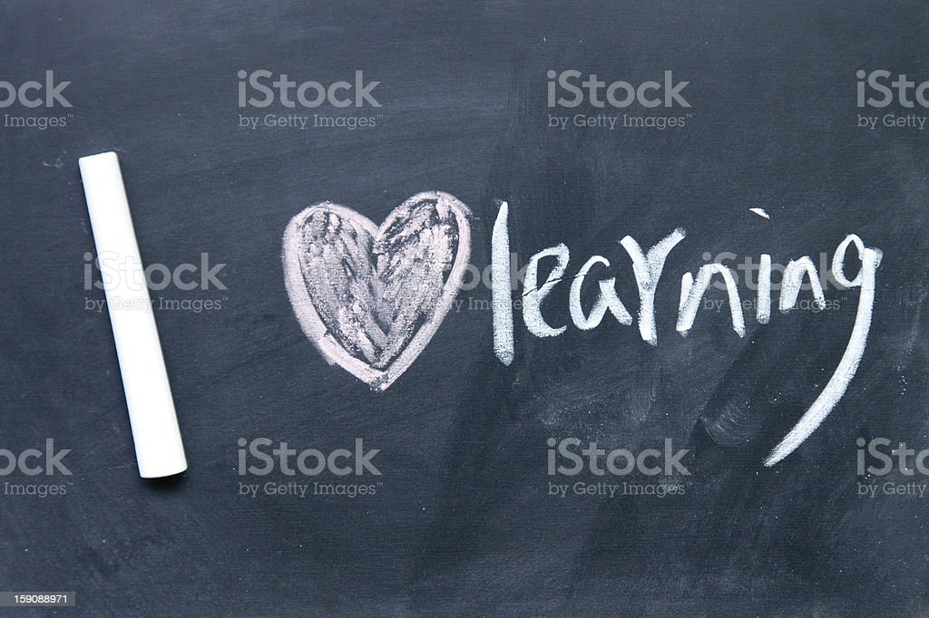 I love learning sign drawn with chalk on blackboard royalty-free stock photo