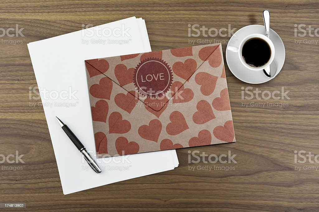 Love letter and coffee royalty-free stock photo