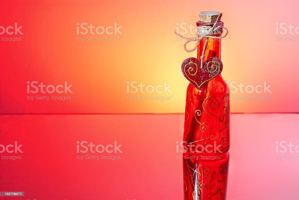 Love letter in a bottle stock photo