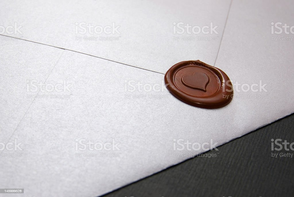 Love letter sealed with wax heart stock photo