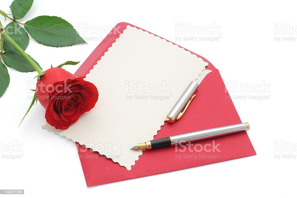 Love letter with rose royalty-free stock photo