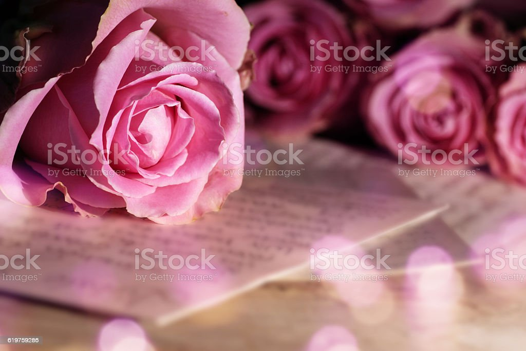 Love letter with roses stock photo