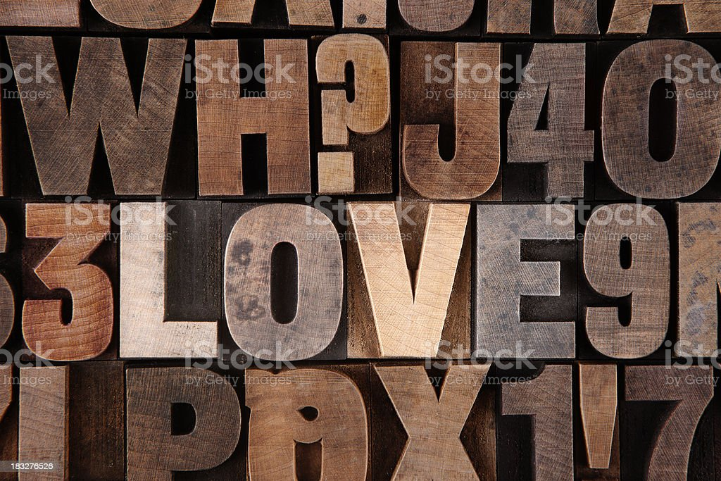 Love - Letterpress letters stock photo
