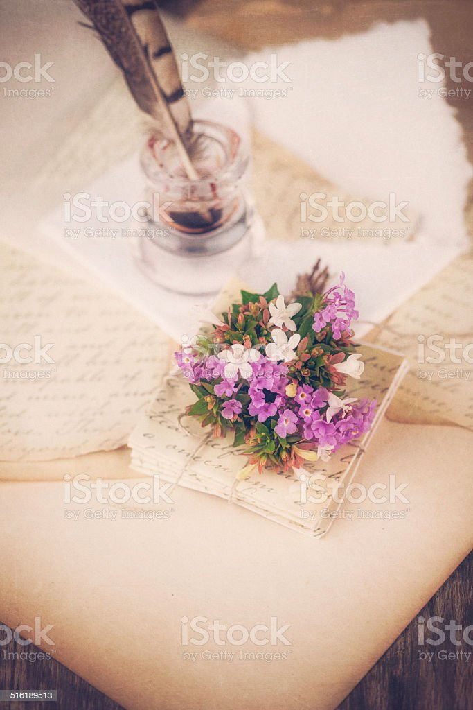 Love Letters and Quill stock photo
