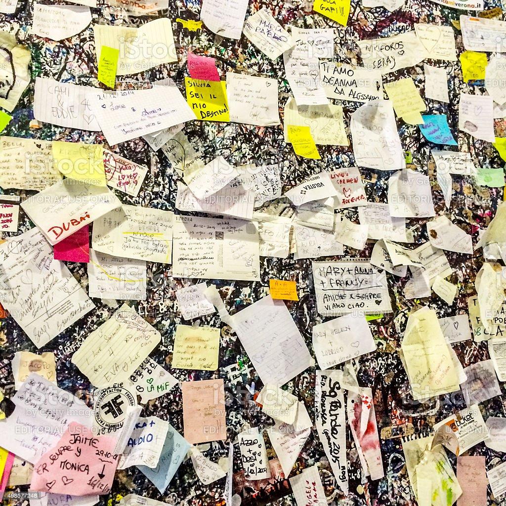 Love letters on a wall near  to Juliette Balcony stock photo