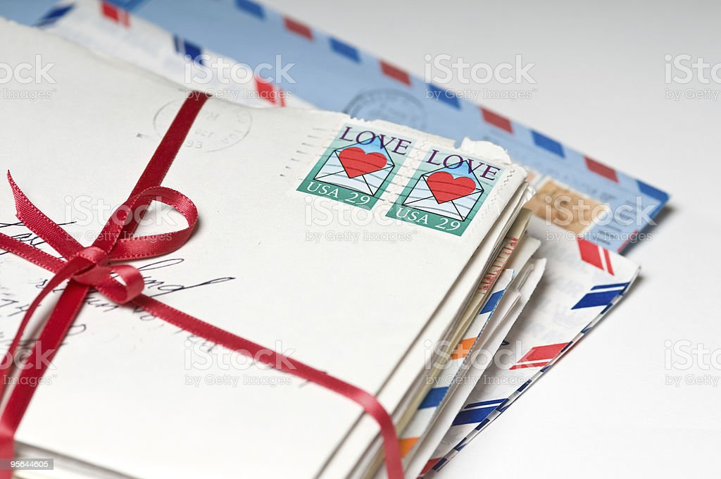 Love Letters tied with a Red Ribbon stock photo