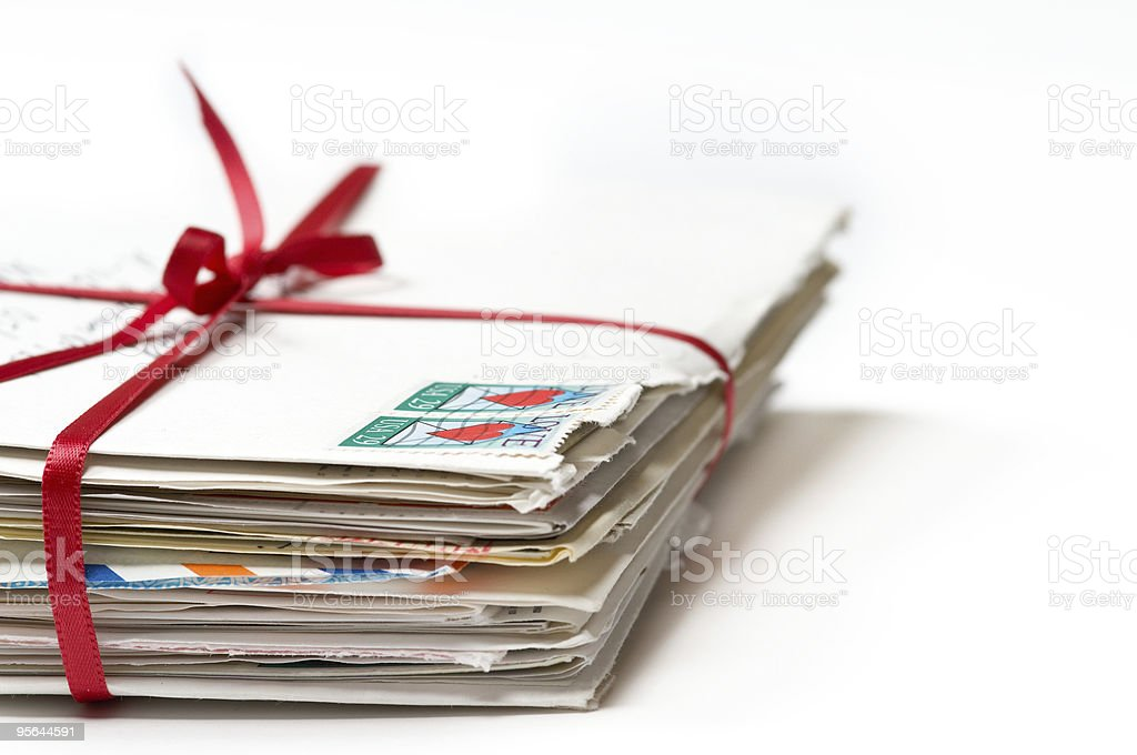 Love Letters with a Red Ribbon stock photo