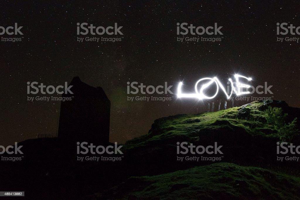 Love light trails stock photo
