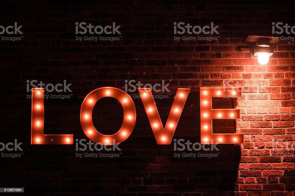love lightbulb sign stock photo