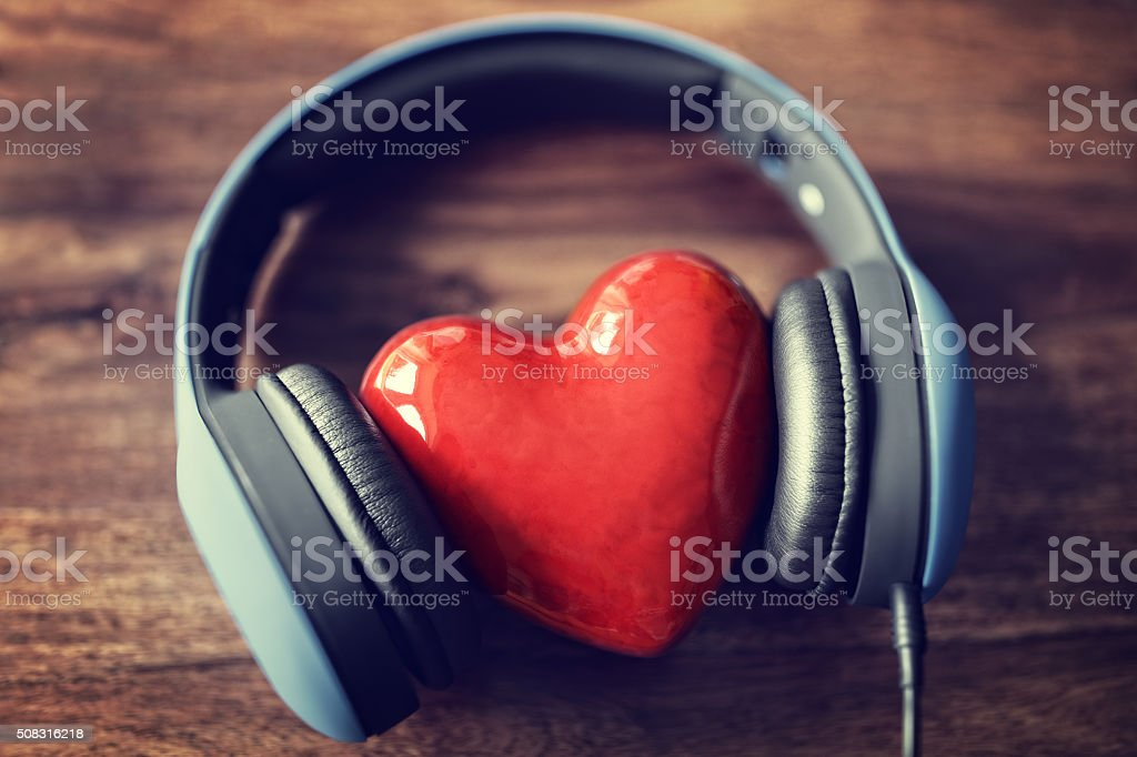 Love listening to music stock photo