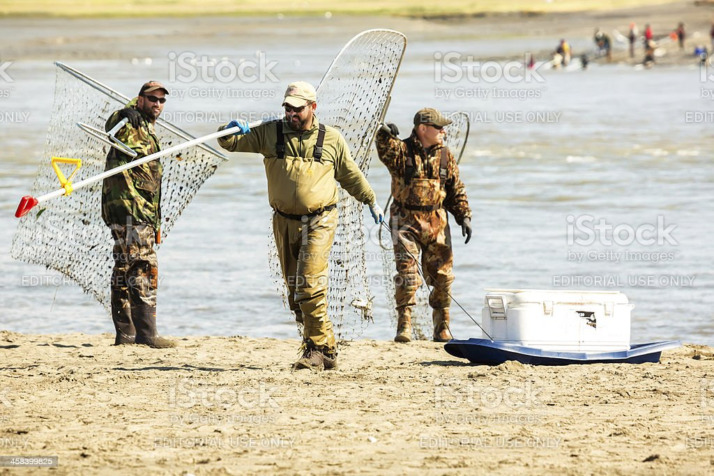 Love Local: Dip net fishing in Kenai Alaska royalty-free stock photo